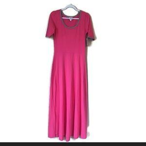 LuLaRoe Ana Maxi Dress Large Pink Gray Trim NEW